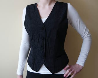 Vintage Womens Vest Black Classic Patterned With Buttoning at Front Official Classic Size EU36 US6