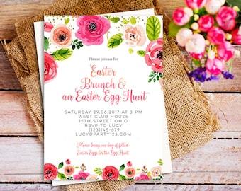 Easter brunch invitation, Easter Invitation, Spring Easter Invites, Easter Egg Hunt Invitation, Floral Easter Invitation printable, Party