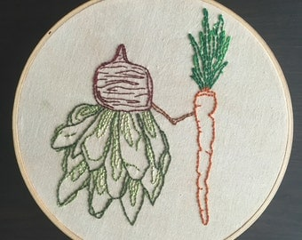 Hand Embroidered Wall Hanging Beet & Carrot love: You Make My Heart Beet  * Valentines Day *
