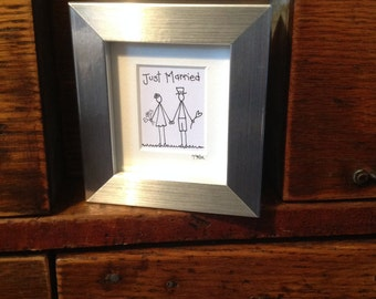 Gorgeous  'Just Married' hand drawn box frame picture
