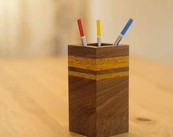 Wooden Pen Holder and Pencil Holder Made from Movingui and Walnut Wood