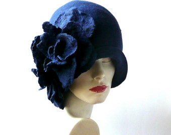 Millinery hat Felt hat Felted Hats flower hat felt hats Cloche Hat Flapper 1920 Hat Art Hat Cloche 1920's   hat navy blue cloche hats roses