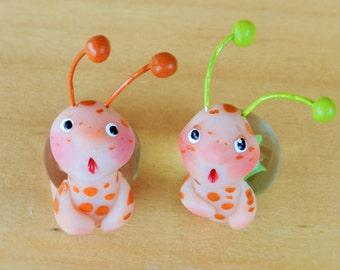 marble snail polymer clay snail figurine