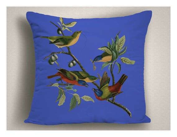 Royal Blue Outdoor Throw Pillow Painted Buntings Decorative