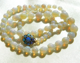 Stunning Art Deco genuine OPAL beads necklace 9ct gold clasp ~ antique 068300