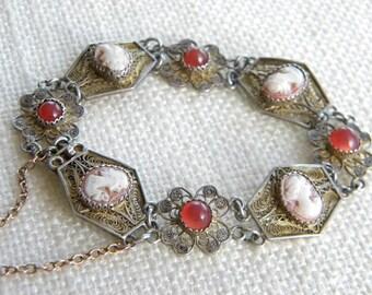"Filigree bracelet SILVER 800 stamped CAMEO 7"" = 18cm long ~ beautiful Italian~ inA2272"