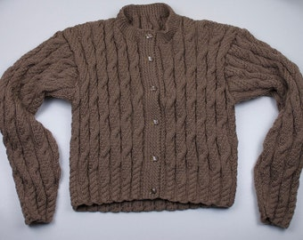 """Ladies Short Length Cable Cardigan (Chest 36-38"""")"""