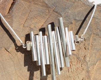 Sterling Silver Xyla Collection Necklace moving tube design