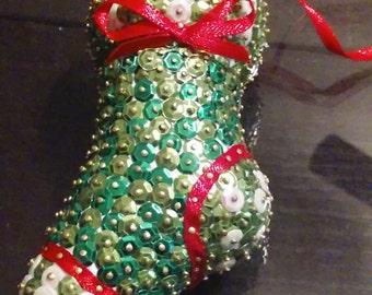 Handmade sequin stocking ornament