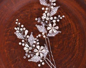 Bridal hair pins Wedding hair pins Crystal hair pins Rhinestone hair pins Rhinestone hair accessories Wedding hair piece Crystal hair piece