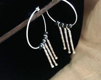 Hoop Dangling Crystal Beads Earrings