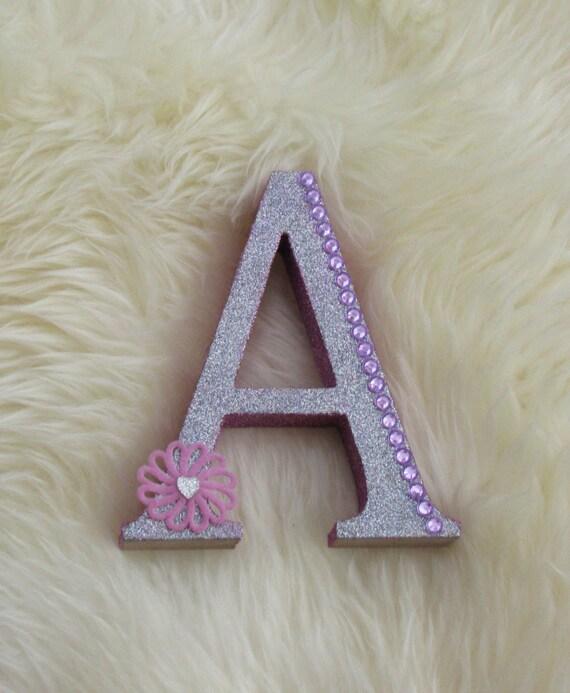 Freestanding mdf glitter letter with bling 15cm