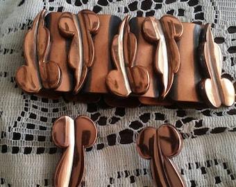 Renoir copper jewelry set renoir bracelet renoir earrings antique copper antique jewelry set vintage jewelry set renoir copper jewelry