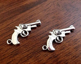 18pcs, Pistol Charms, Antique Silver Charm, 3D Gun Charm, Gun Charm, Double Sided Gun, Hand Gun Charm, Jewelry and Craft Supplies, Findings
