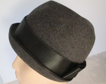 Ladies Miss Dior Charcoal Wool Cloche Hat Created by Christian. A Classic!