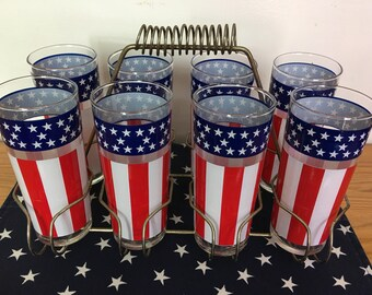Vintage Stars and Stripes Libbey Glasses with Caddy, 1970s