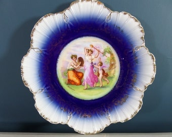 """Hand Painted Porcelain Decorative Plate, FREE SHIPPING, Depicting Kaufmann Scene, Gold Gilt, Cobalt Blue, No Chips, Good Condition, 8.75"""""""