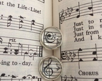 Vintage Hymnal Music Note Earrings