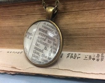 WORD Vintage Dictionary Word Pendant