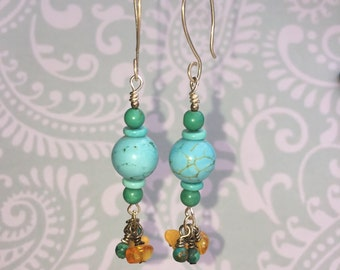 Turquoise and Amber Dangle Earrings