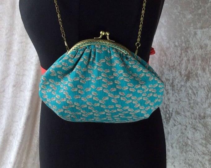Alice Flower Heads frame bag fabric small Frame handbag purse makeup bag handmade in England
