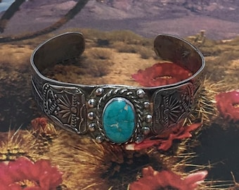 Vintage Sterling Silver and Turquoise Indian Bracelet