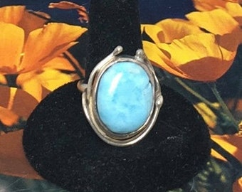 Gorgeous Sterling silver Ring with Light Blue Turquoise, size 8.25