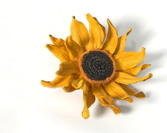 sunflower brooch yellow flower brooch leather sunflower for mom Gift wife gift|for|her gift Anniversary Gift for grandmother gift sister