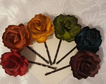 Autumn Hair Flowers Paper Rose Bobby Pins Bobbie Pins