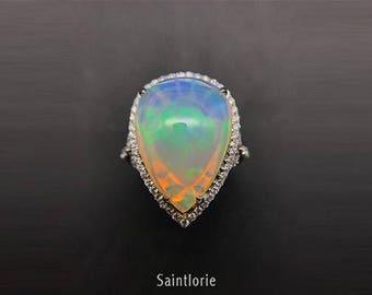 10 Carat Opal Engagement Ring