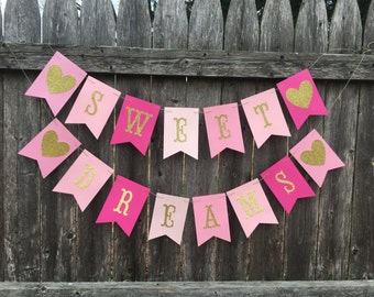 Sweet Dreams banner. Slumber party banner. Sleepover banner. Pink and gold birthday banner .