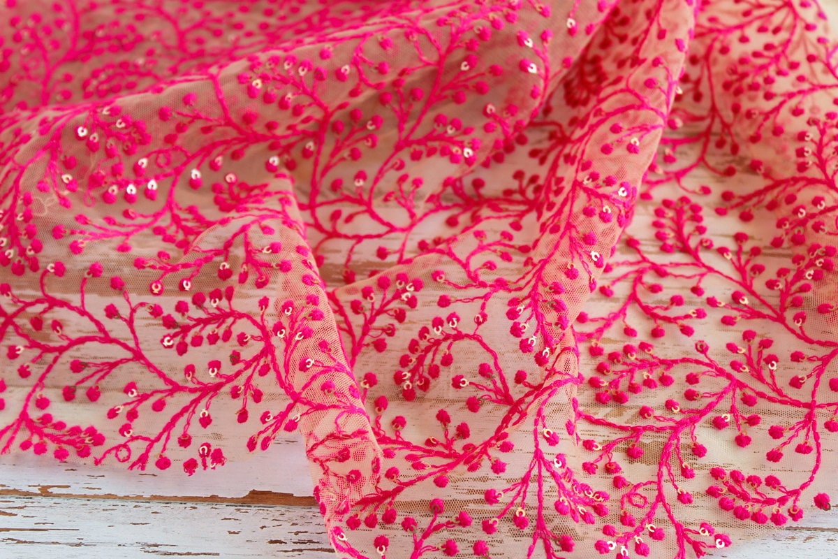 Yard of beige net fabric with pink embroidery boho floral
