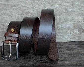 Durable Full Grain Leather Belt,Mens Belt,Dark Brown,Qualitied Belt For Business men,Gift For Him