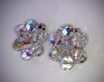 Vintage crystal earrings - clip on