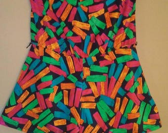 80s Multicolored Romper Swimsuit by Sea Fashions of California