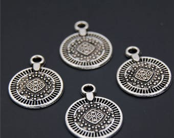 30pcs Antique Silver Small Round Coin Charms Pendant A2318