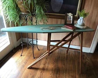 Primitive Vintage J R Clark Wood Ironing Board Original Painted Ironing Board