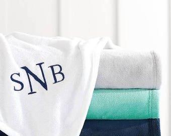 Monogrammed Fleece Blanket Throw - Micro Fleece Plush