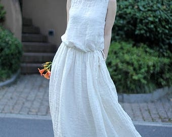 Loose white dress long pleated dress sleeveless summer dress white tunic dress linen dress maxi dress beach dress plus size linen clothing