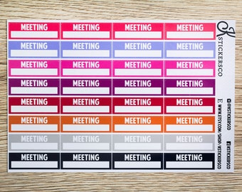 Bright Shade Meeting Label Stickers for Erin Condren and Recollection Lifeplanner