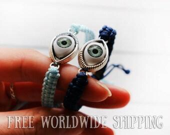 Set of Couple Bracelet, Evil eye bracelet, BFF couple bracelet, Anniversary Bracelet, Personalized Matching bracelets, His Hers bracelets