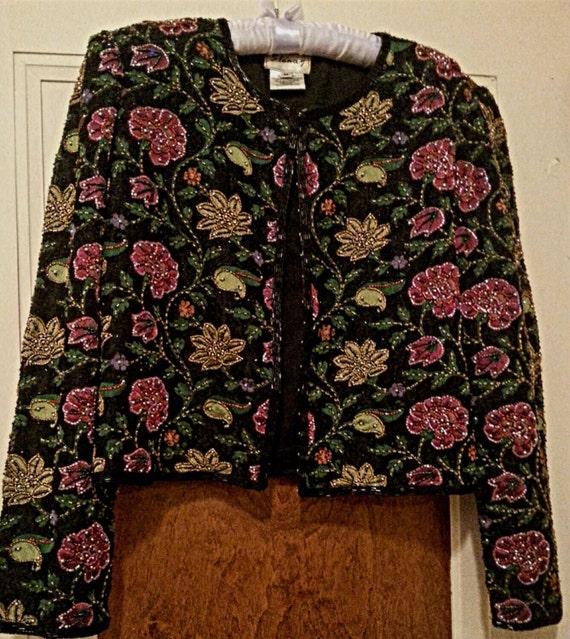 Vintage Stenay Designer Beaded Jacket from the 1980's. Size Medium.