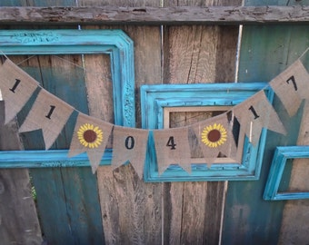Wedding Date Burlap Banner Garland Bunting Save the Date
