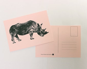 Map rhino, greeting card, postcard, postcard