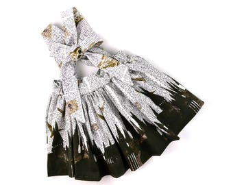 Castles print suspender skirt, owl skirt, book skirt,