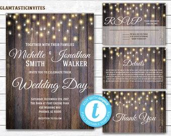 Fall Rustic Wedding Invitation Printable, Country Wedding Invitation, Instant Download, Printable, wedding invitation suite, Rustic Wedding