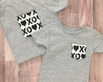 Valentines Day Shirt Set, Mommy and me Tshirt set, Pocket tee, XOXO