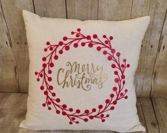Christmas pillow- Merry Christmas- Merry Christmas pillow- Christmas pillow cover- holly pillow- gold christmas- Christmas gift