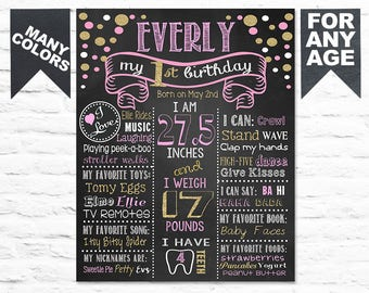 Printable Confetti First Birthday chalkboard sign 1st birthday party sign milestone poster banner chalk board pink gold girl or boy (319)