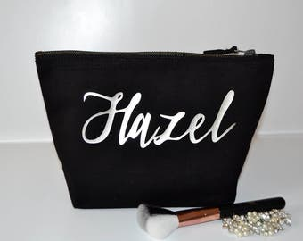 Bridesmaids gifts, Personalised black makeup bag, thank you gift, will you be my bridesmaid, toiletry bag, cosmetic bag